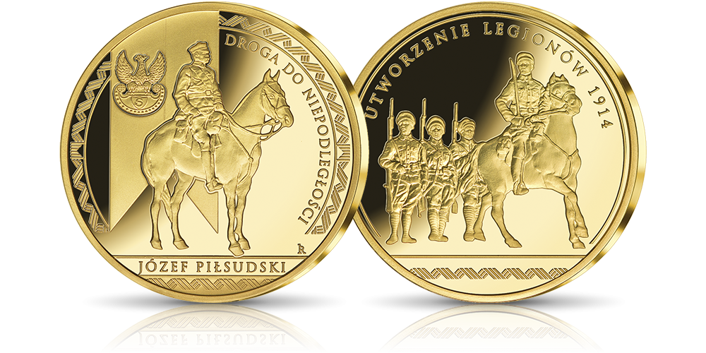 Naczelnik Państwa Józef Piłsudski na medalu uszlachetnionym czystym złotem
