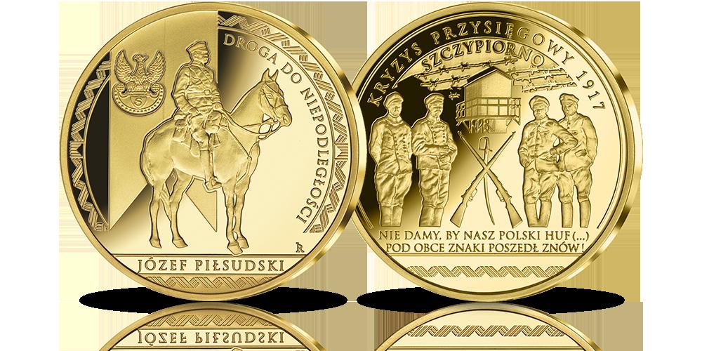 Piłsudski i kryzys przysięgowy - medal platerowany czystym złotem