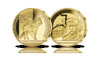 Józef Piłsudski uwięziony w Magdeburgu - medal platerowany czystym złotem