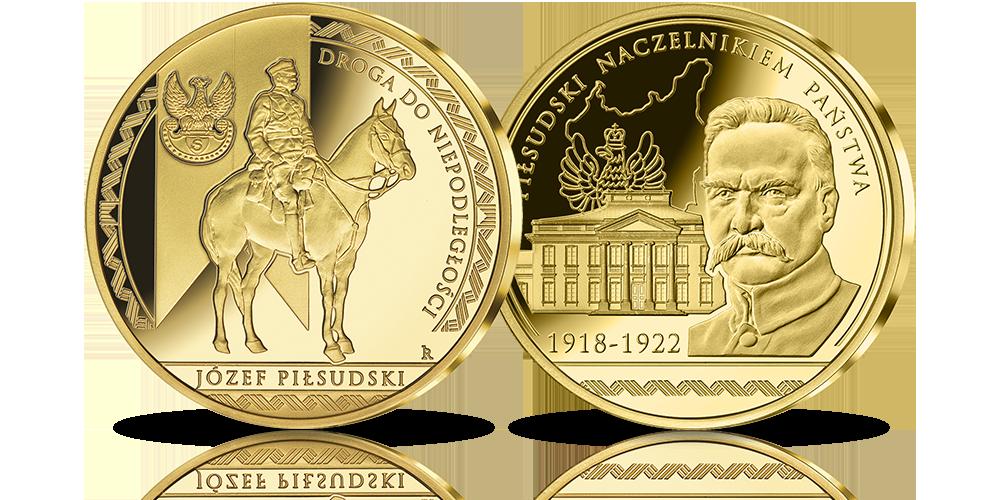 medal platerowany czystym złotem Piłsudski Naczelnikiem Państwa