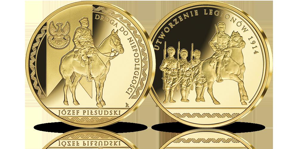 Józef Piłsudski i utworzenie Legionów - medal platerowany czystym złotem