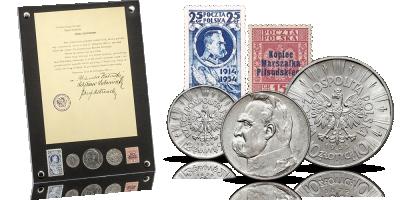 Józef Piłsudski Unikalny zestaw srebrnych monet i znaczków II RP!