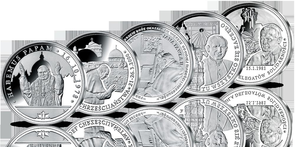 pamiątkowe numizmaty przedstawiające wydarzenia pontyfikatu Ojca Świętego Jana Pawła II