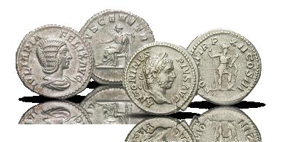 Karakalla i Julia Domna Unikalny zestaw monet cesarza Karakalli i jego matki