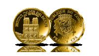 Katedra Notre-Dame na oficjalnej monecie wybitej w czystym złocie.