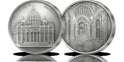 Katedra św. Piotra na srebrnej monceie z wysokim reliefem