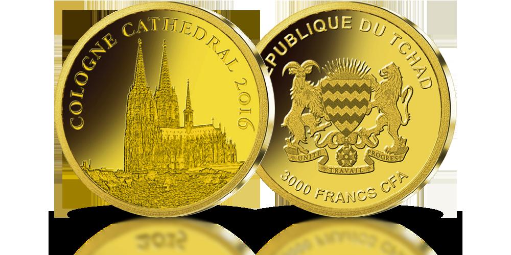 moneta z czystego złota z wizerunkiem katedry w kolonii najwyższa jakość mennicza