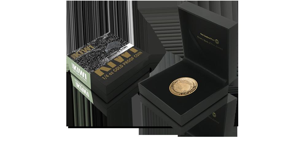Kiwi 2019. Złota moneta z Nowej Zelandii w eleganckim pudełku kolekcjonerskim.