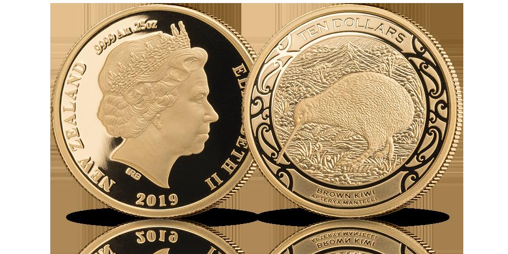 Kiwi 2019. Złota moneta z Nowej Zelandii.