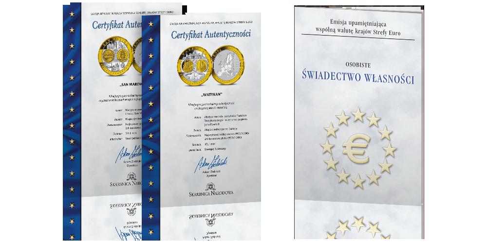 kolekcja-medali-upamietniajacych-zlote-monety-euro-certyfikaty