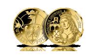 Królowa Jadwiga na medalu pamiątkowym wybitym w 14-karatowym złocie