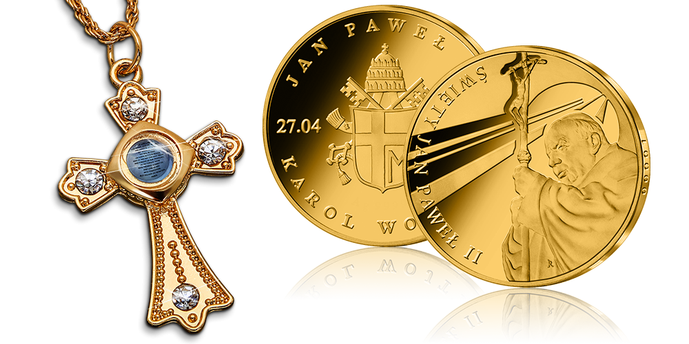 Wyjątkowy zestaw. Krzyż z modlitwą na łańcuszku oraz medal z Janem Pawłem II.