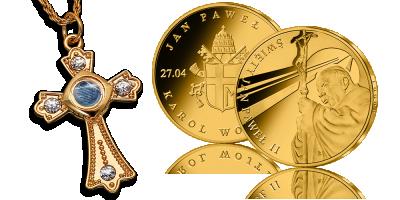 Krzyż i uszlachetniony złotem medal teraz w jednym zestawie
