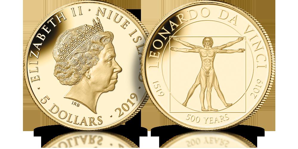 Leonardo da Vinci na złotej monecie o nominale 5 dolarów