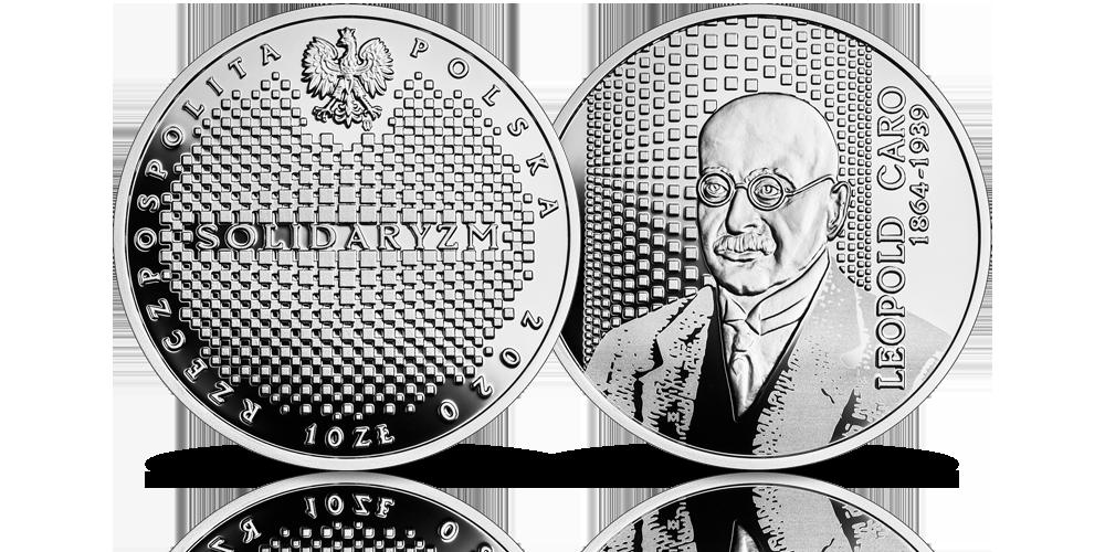 Leopold Caro na srebrnej monecie NBP.
