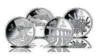 Komplet oficjalnych srebrnych monet olimpijskich z Brazylii