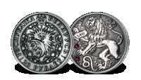 Srebrna moneta z kryształkami Swarovskiego - Lew
