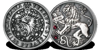 Lew - znak zodiaku na srebrnej monecie ozdobionej kryształkami Swarovskiego