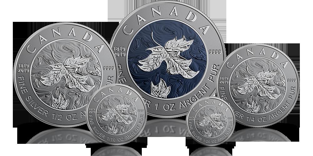 Liść klonowy z niebieskim rodem. Zestaw srebrnych monet kanadyjskich wybitych z okazji 200. rocznicy urodzin królowej Wiktorii.