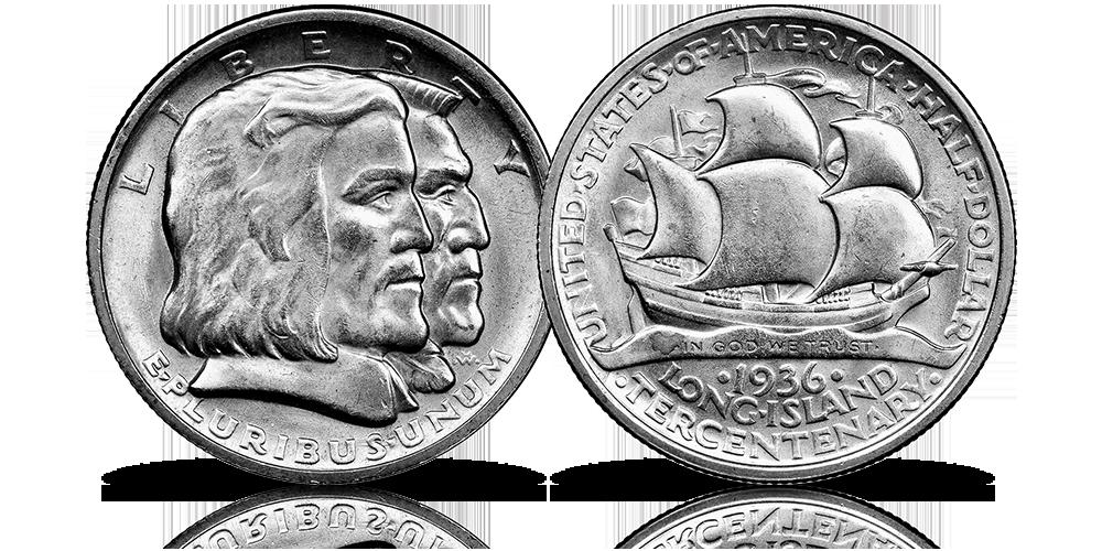 Long Island 1936 half dollar srebrna moneta USA