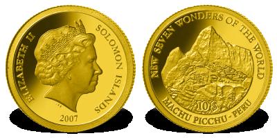 Złota moneta Machu Picchu