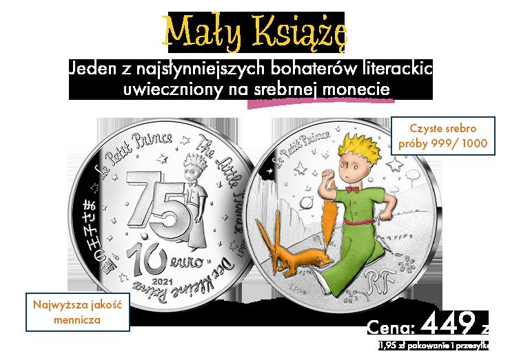 Mały Książę – jeden z najsłynniejszych bohaterów literackich  uwieczniony na monecie wybitej w cennym srebrze