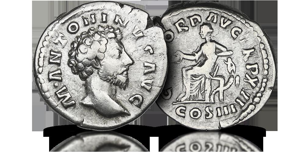 Oryginalny srebrny denar Marka Aureliusza