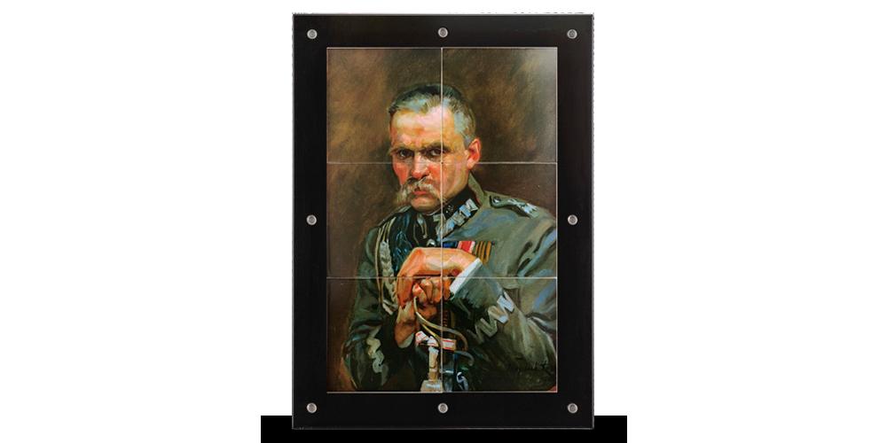 Reprodukcja obrazu z Józefem Piłsudskim przeniesiona na 6 srebrnych puzzli.