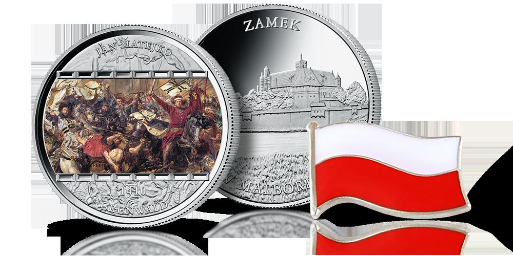 Bitwa pod Grunwaldem - uszlachetniony srebrem medal pamiątkowy z przypinką w kształcie flagi.