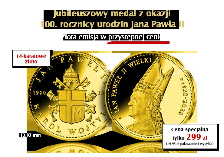 Jubileuszowy medal z okazji 100. rocznicy urodzin Jana Pawła II