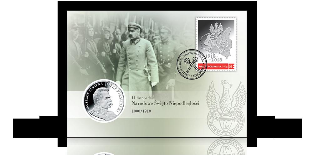 numizmatyczna-koperta-kolekcjonerska-srebrny-medal-jozef-pilsudski-znaczek-pieczec-poczta-polska