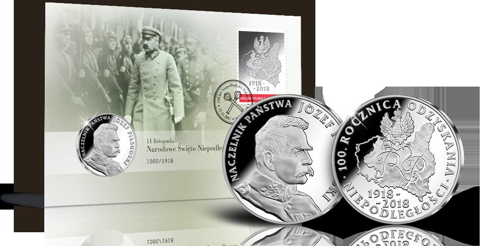 numizmatyczna-koperta-kolekcjonerska-srebrny-medal-jozef-pilsudski-znaczek-poczta-polska-widok
