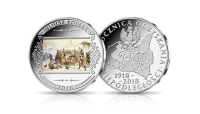 Obraz Szarża krakusów na Rosjan na medalu uszlachetnionym czystym srebrem.