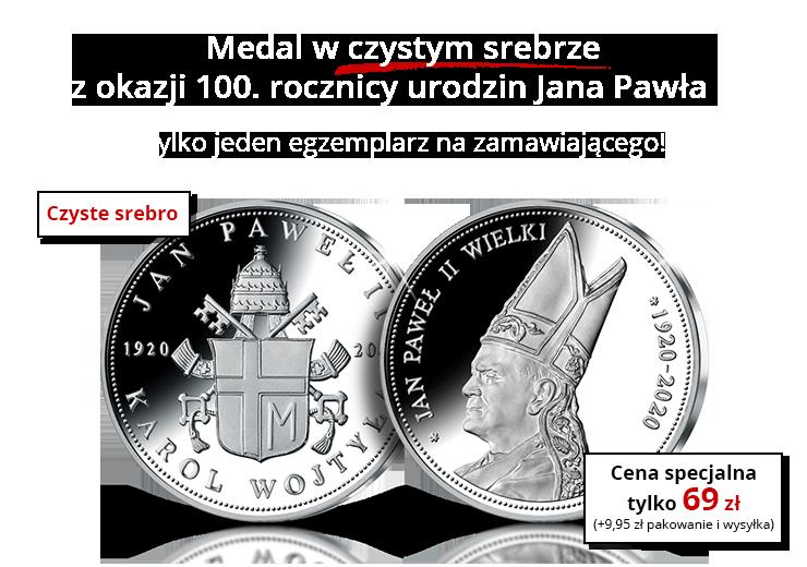 Medal z okazji 100. rocznicy urodzin Jana Pawła II w czystym srebrze