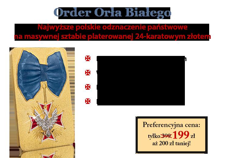 Order Orła Białego na pozłacanej sztabie kolekcjonerskiej