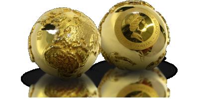 Moneta w kształcie kuli ziemskiej ozdobiona prawdziwym diamentem