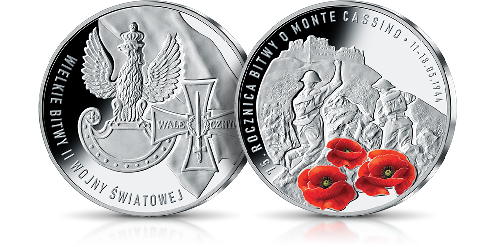 Srebrny medal pamiatkowy w 75. rocznicę bitwy o monte casino