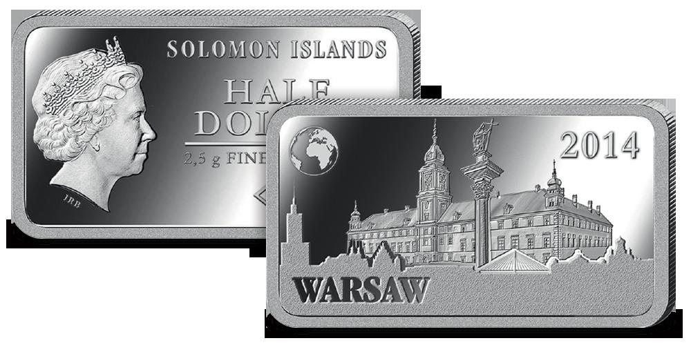 Srebrna moneta z Zamkiem Królewskim w Warszawie