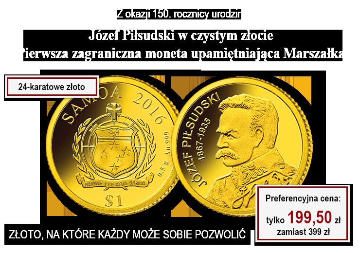 Józef Piłsudski w czystym złocie