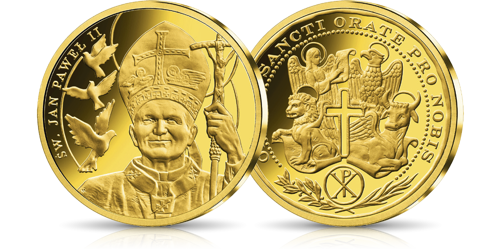 platerowane-zlotem-medale-kolekcja-wszyscy-swieci-jan-pawel-ii