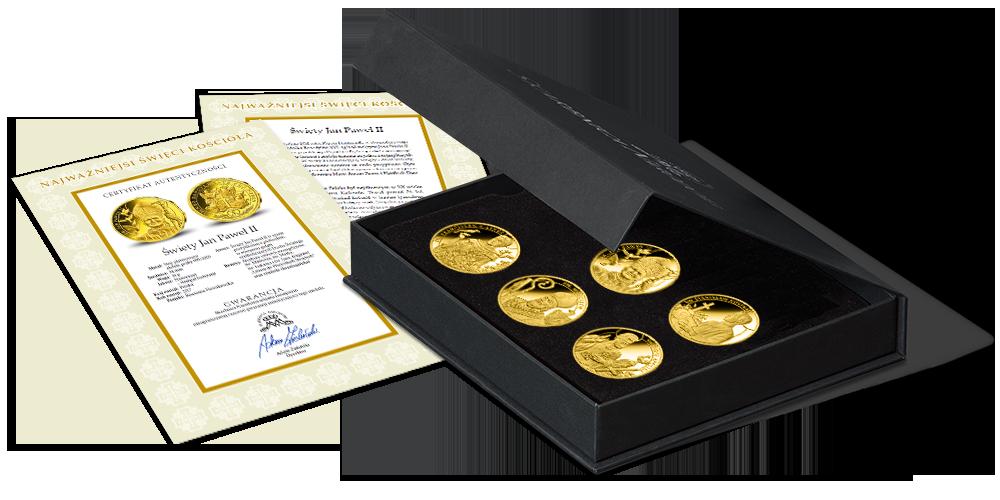platerowane-zlotem-medale-kolekcja-wszyscy-swieci-kasetka-swiadectwo-wlasnosci