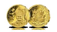 Święty Jan Paweł II na medalu platerowanym czystym złotem