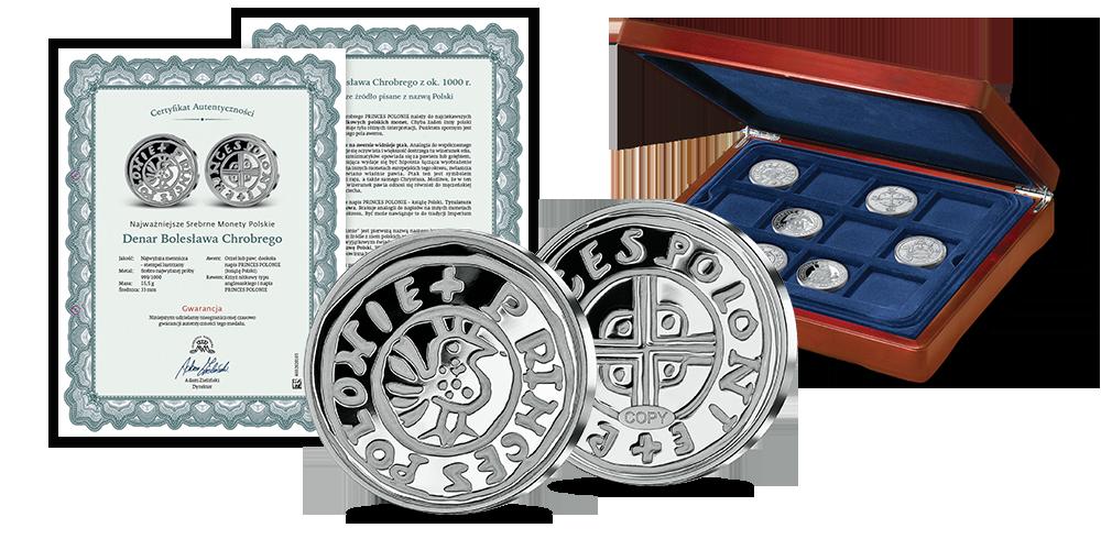 srebrna-replika-denar-chrobrego-zestaw-kasetka-certyfikat