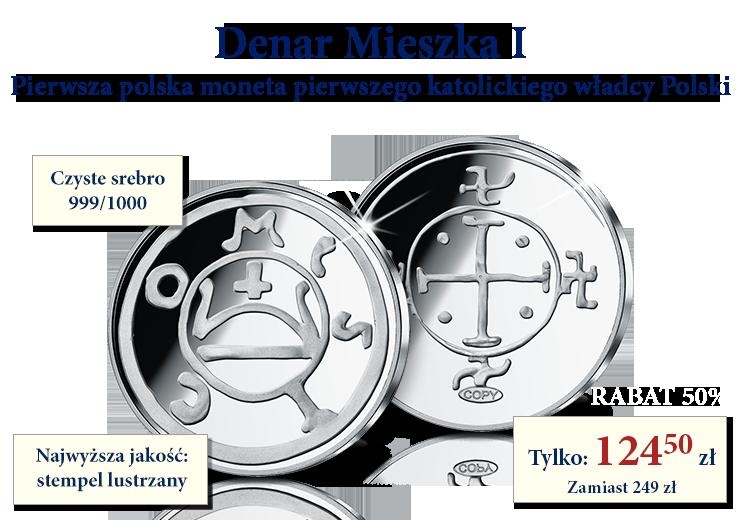 Denar Mieszka I - pierwsza polska moneta pierwszego katolickiego władcy Polski