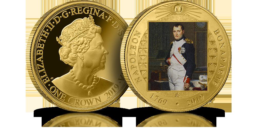 Napoleon Bonaparte moneta z Wyspy Świętej Heleny uszlachetnienie czystym złotem nominał 1 korona Królowa Elżbieta II reprodukcja obrazu Napoleon w gabinecie w Tuileries autorstwa Jacquesa-Louisa Davida