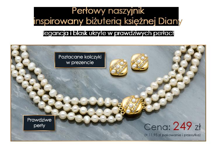 Perłowy naszyjnik inspirowany biżuterią księżnej Diany