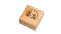 Niedźwiedź gobijski - srebrna moneta umieszczona w drewnianym pudełku.