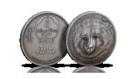 Niedźwiedź gobijski - srebrna moneta ozdobiona kryształkami Swarovskiego.