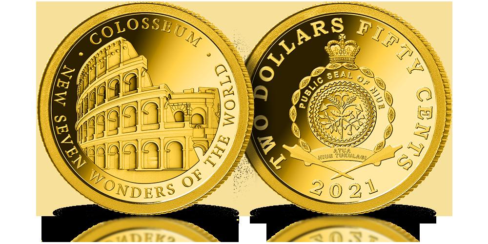Nowe 7 Cudów Świata - złota moneta