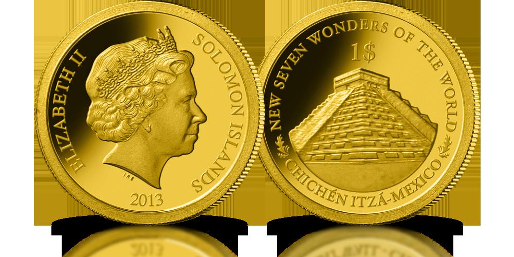 kolekcja złote monety nowe siedem cudów świata chichen itza